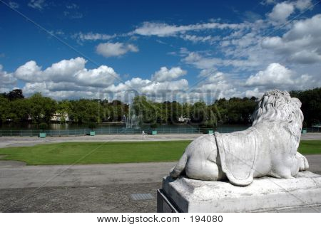 Marble Lion In The Park
