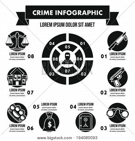 Crime infographic banner concept. Simple illustration of crime infographic vector poster concept for web