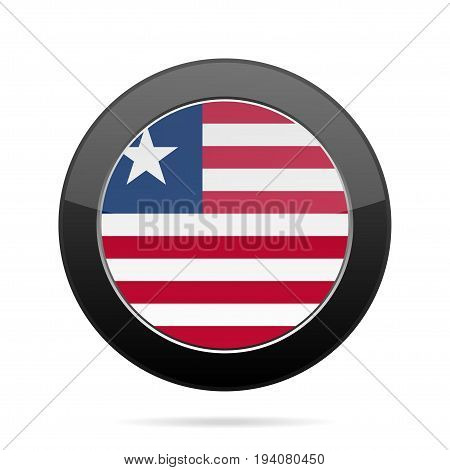 National flag of Liberia. Shiny black round button with shadow.