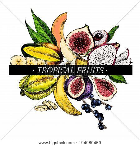 Vector hand drawn smoothie bowls poster. Exotic engraved fruits. Colored icons. Banana mango papaya pitaya acai lychee fig carambola pitahaya Use for exotic restaurant food party