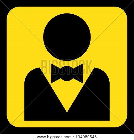 yellow rounded square information road sign with black figure with suit and bow tie icon and frame