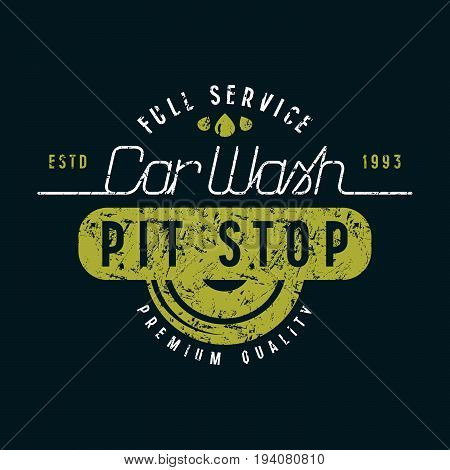 Car Wash And Pit Stop Emblem