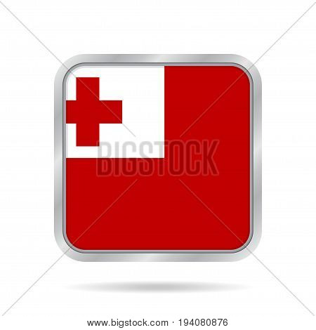 National flag of Tonga. Shiny metallic gray square button with shadow.
