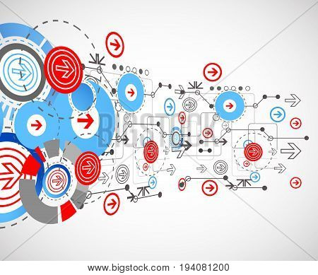 Abstract Technological Background With Circles And Arrows