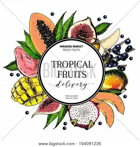 Vector hand drawn smoothie bowls poster. Exotic engraved fruits. Colored icons in round bodrer composition. Banana mango papaya pitaya fig acai guava pitahaya. for exotic restaurant food party