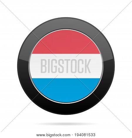 National flag of Luxembourg. Shiny black round button with shadow.
