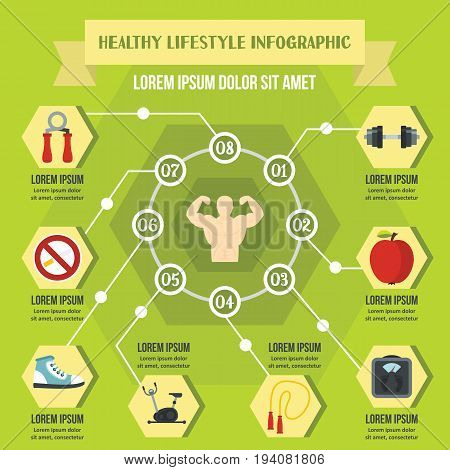 Healthy lifestyle infographic banner concept. Flat illustration of healthy lifestyle infographic vector poster concept for web