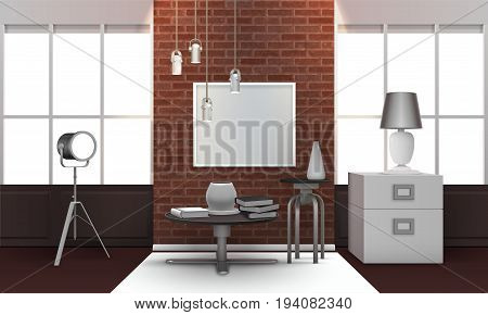 Realistic loft interior with brick wall between wide windows, metal table and chair, spotlight 3d vector illustration