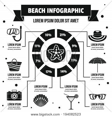 Beach infographic banner concept. Simple illustration of beach infographic vector poster concept for web