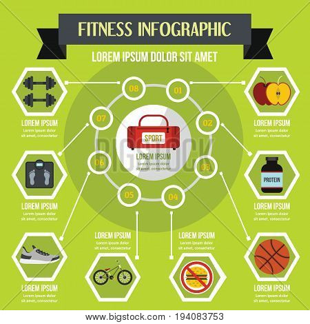 Fitness infographic banner concept. Flat illustration of fitness infographic vector poster concept for web