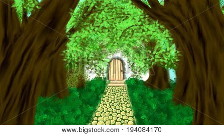 Illustration of landscape with yellow pathway green grass and brown trees with leaves leading to a light brown wooden door surrounded by light and gray smoke hand drown in watercolor painting style