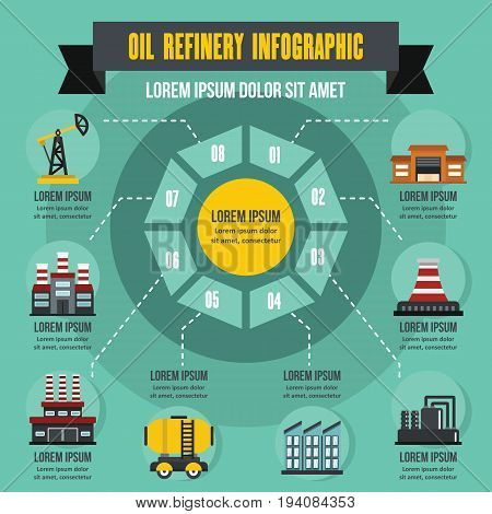 Oil refinery infographic banner concept. Flat illustration of oil refinery infographic vector poster concept for web