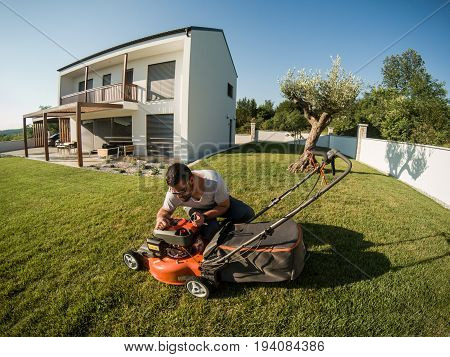 Man Checking Landmower