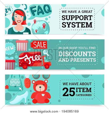 Online shopping horizontal banners collection with cartoon style images of goods gift boxes and support agent vector illustration