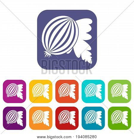 Gooseberry with leaves icons set vector illustration in flat style In colors red, blue, green and other