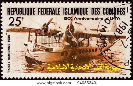 MOSCOW RUSSIA - July 06 2017: A stamp printed in Comoros shows aircraft Sikorsky S-43 Amphibian (1935) series