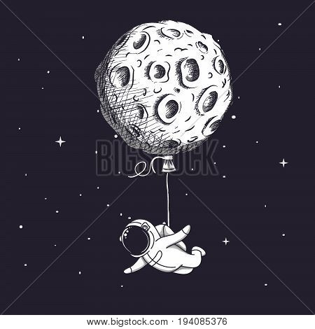 Funny spaceman fly with moon like a balloon.Adventure of astronaut.Abstract childish vector illustration