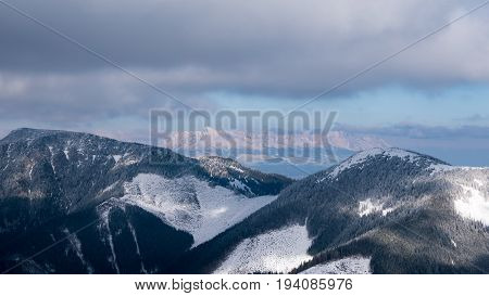 Panorama of tatra mountain at the end of winter time.