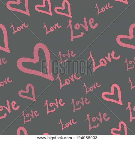 Seamless pattern with pink heart shapes and words Love on Gray. Valentines Day Background in childish style.