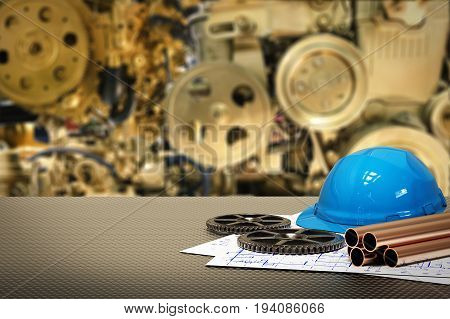 civil engineer concept with 3d rendering golden gear blurred background