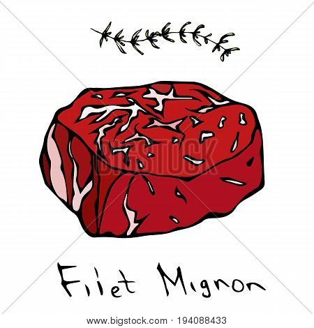 Filet Mignon Steak Cut Vector Isolated On White Background.