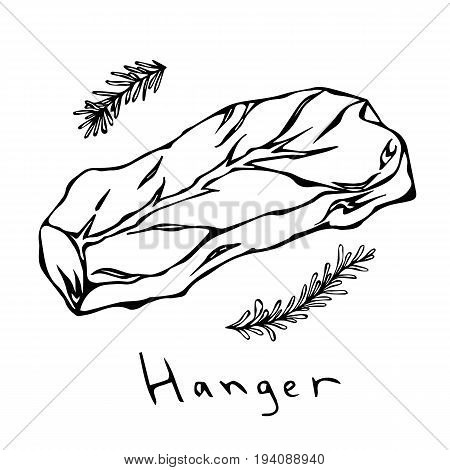 Hanger Steak Cut Vector Isolated On White Background. Outline.
