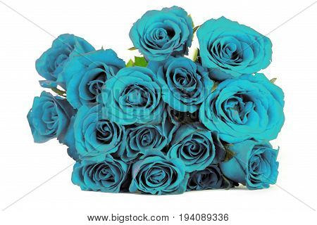 Fantasy blue roses bouquet on white background
