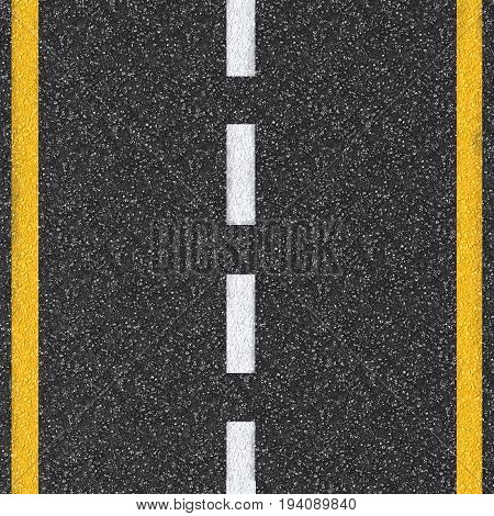 3d rendered asphalt road top view with white and yellow lines