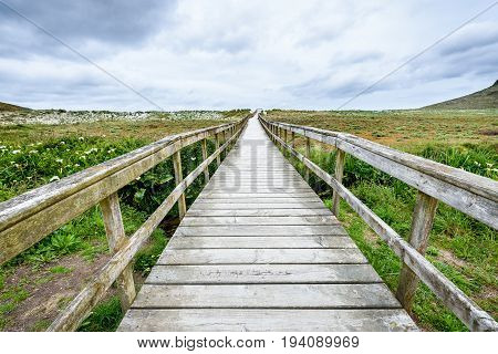 Bridge Or Pier Over A Dune On A Sandy Beach.