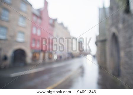 Blurred Image Of Building On Royal Mile In Edinburgh, United Kingdom.