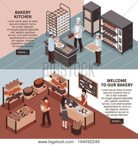 Bakery kitchen and bakery store isometric  horizontal banners with professional equipment cookers buyers and seller vector illustration