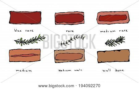 Degree of steak readiness icons set. Well done and rare, beefsteak, doneness barbecue, bbq menu, vector illustration