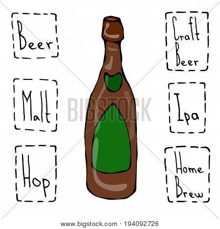 Craft Beer Bottle Doodle Style Sketch. Hand Drawn Vector