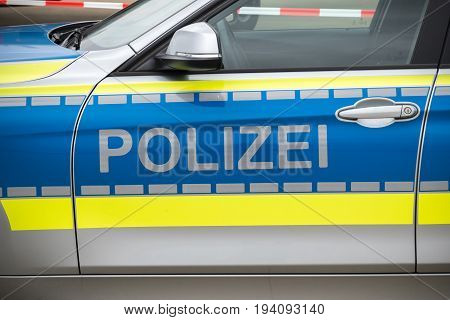 Polizei marks on a German Police car .