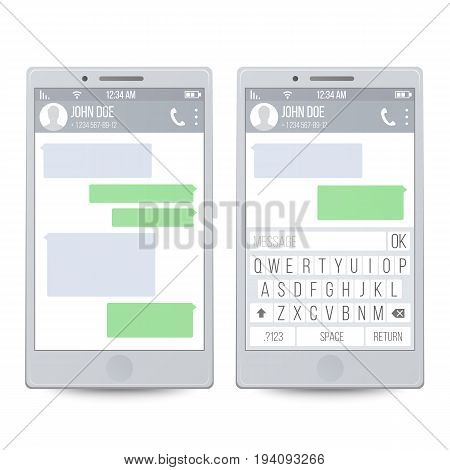 Smartphone. Speech Bubbles On Phone Screen. Chatting SMS Messages. Vector Illustration