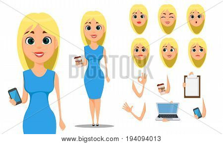 Business woman cartoon character creation set. Young attractive businesswoman in fashionable blue dress. Build your personal design - stock vector