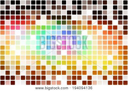 Red pink green blue brown occasional opacity vector square tiles mosaic over white background