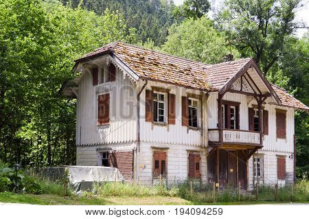 Ruined wooden house in the Black Forest in Germany