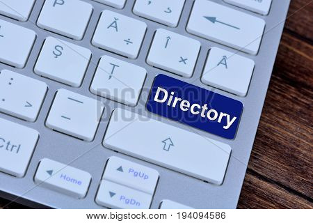 Directory on computer keyboard button close up