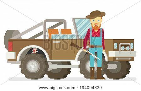 Cartoon hunter with gun. Redneck. Car. Isolated on white background