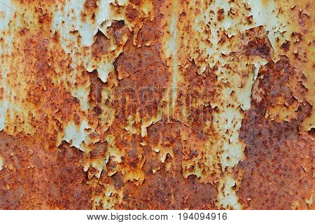 Rusty metallic surface with cracked blue paint