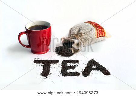 Word Tea Is Laid Out Small Leaf Black Tea.