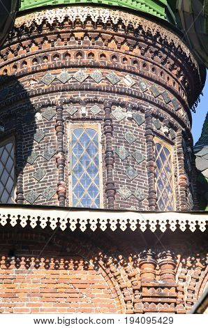A close up of the wall of St. John the Baptist Church in Yaroslavl, Russia. A very popular touristic landmark.