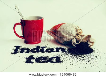 The Word Tea From Of Black Tea Powder