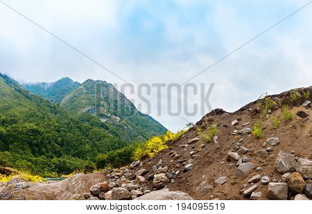 Wild Nature Landscape With Mountains