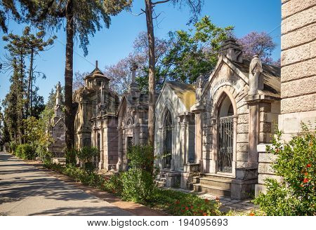 SANTIAGO CHILE - NOVEMBER 11 2016: Family crypts at Santiago General Cemetery (Cementerio General de Santiago). This is one of the largest cemeteries in Latin America was established in 1821.