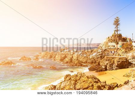 Rocky Beach In Vina Del Mar, Chile