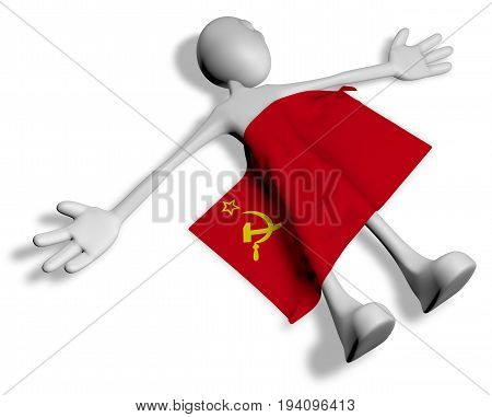 dead cartoon guy and flag of the soviet union - 3d illustration