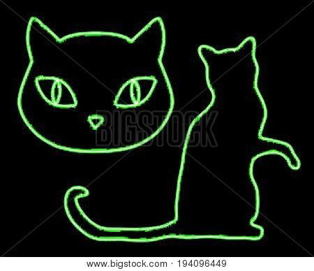 Neon Glowing Cats