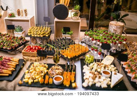 Spanish tapas bar with many delicious food appetizer.